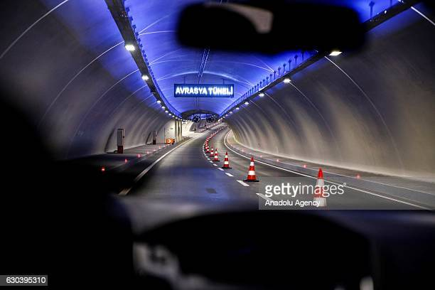 Car passes through the Eurasia tunnel after it's opening in Istanbul, Turkey on December 22, 2016. Traffic began to flow from both Europe and Asia...