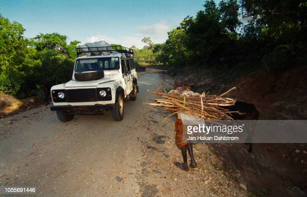 car passing woman carrying firewood - ricchi e poveri foto e immagini stock
