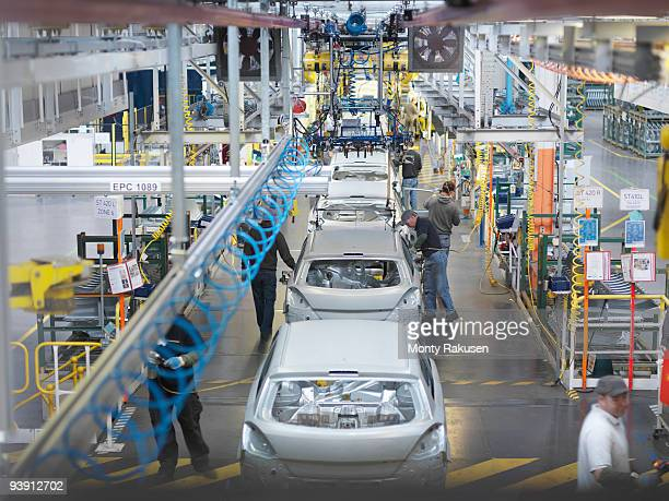 car plant production line from above - motor vehicle stock pictures, royalty-free photos & images