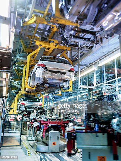 Car production line in car factory, low angle view