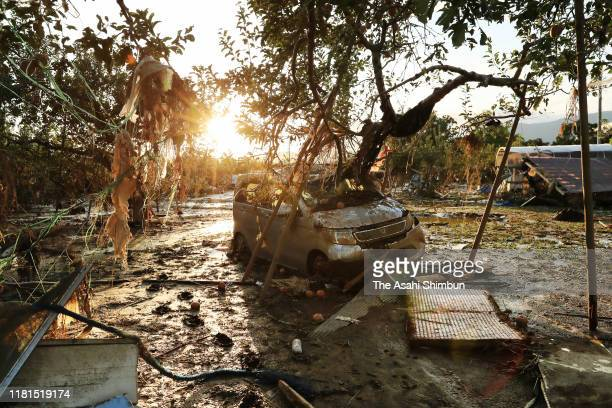A car remains washed away by flood after Typhoon Hagibis at an apple field on October 16 2019 in Nagano Japan At least 75 people across 12...