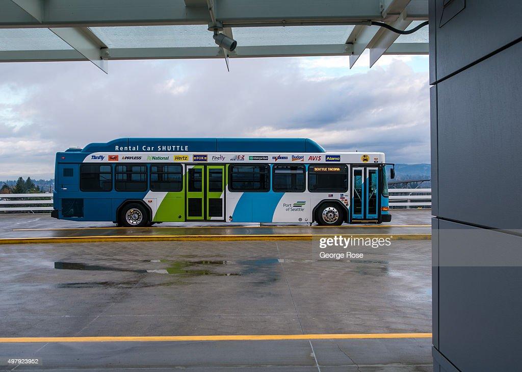 A Car Rental Bus At Seattle-Tacoma International Airport