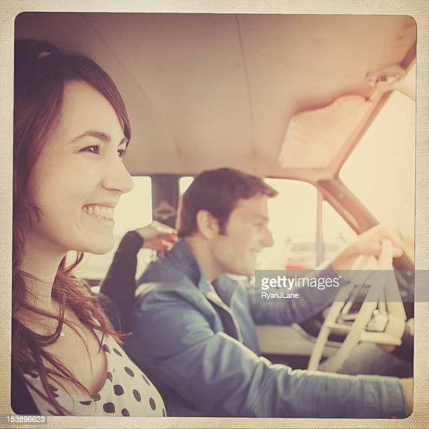 Car Ride Couple Retro Polaroid
