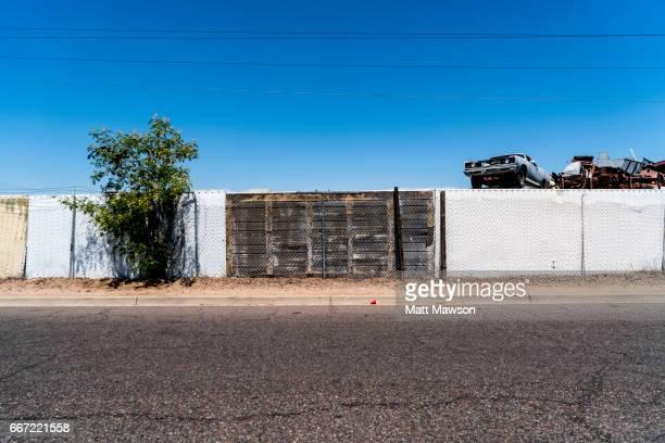 car scrap yard in phoenix arizona usa - junkyard stock photos and pictures