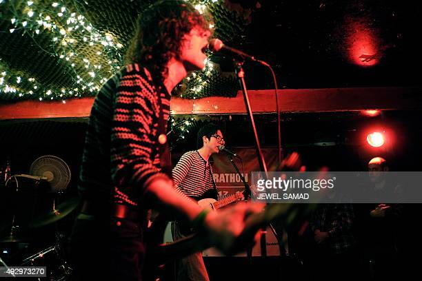 Car Seat Headrest band's singer/guitarist Will Toledo performs on October 15 2015 during the CMJ Music Marathon in New York Starting as a teenager...
