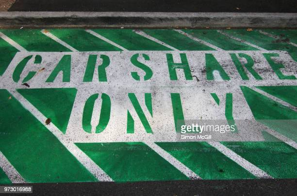 Car share only parking space stencilled on a road