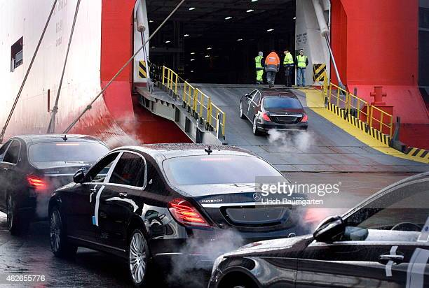Car shipment in the overseas port of Bremerhaven Mercedes cars before and during the ride on the ramp of the transport ship on January 30 2015 in...