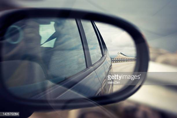 Car side mirror with reflection