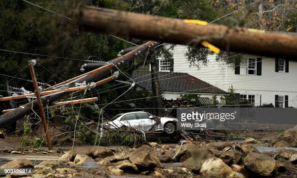 A car sits along along Olive Mill Road in Montecito after a major storm hit the burn area Tuesday January 9 2018 in Montecito California