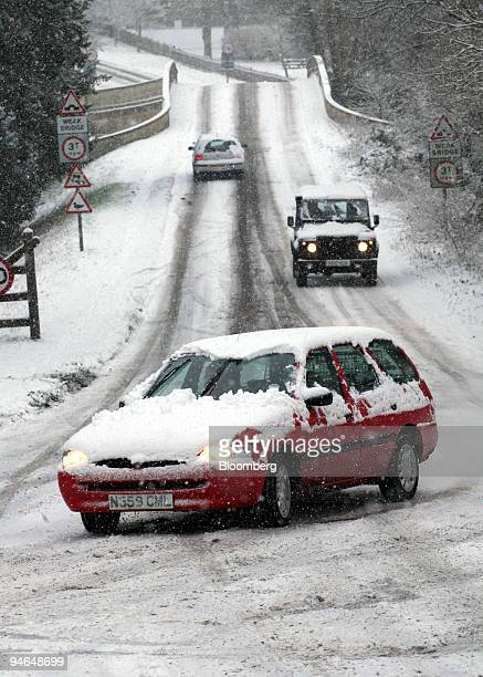 A car skids on the road near Saffron Walden Essex UK Thursday Feb 8 2007 London's commuters struggled to work today as the heaviest snowfall of the...