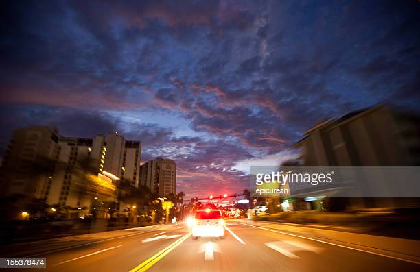 Car speeding through Clearwater Florida at night