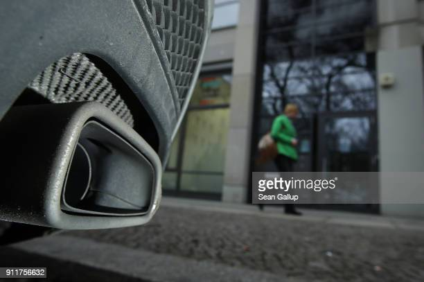 A car stands parked next to the office building that includes the office of the European Research Group on Environment and Health in the Transport...