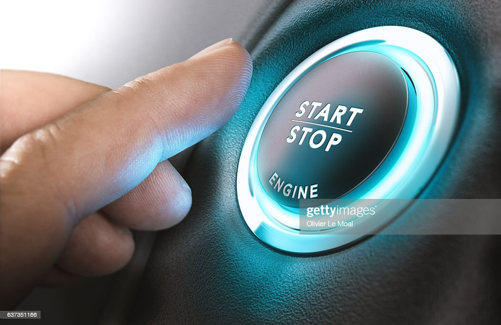 Car Start and Stop Button : Stock Photo