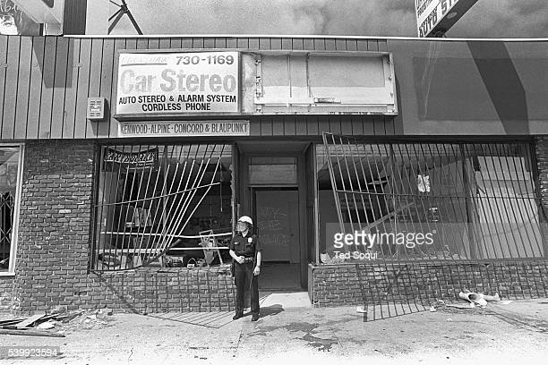 A car stereo business in South Central Los Angeles is looted Los Angeles has undergone several days of rioting due to the acquittal of the LAPD...