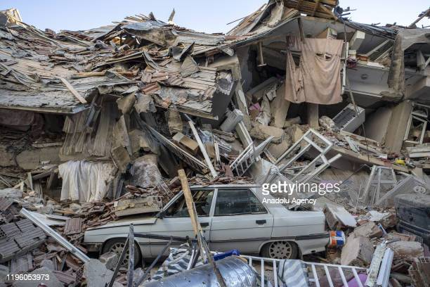 A car stuck in the rubble after a 68magnitude earthquake jolted eastern Turkish province of Elazig on January 25 2020 Search and rescue efforts are...