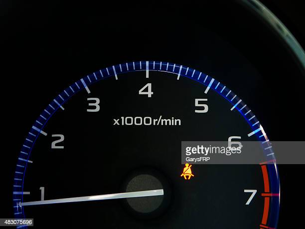 Car Tachometer with Seat Belt Icon Black Blue White POV
