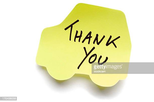 Car Thank You postit note isolated on white