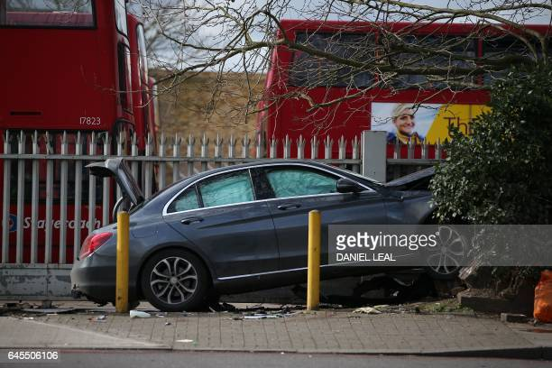 A car that collided with a wall and pedestrians in south London on February 26 2017 is seen at the scene Five people were injured in the collision...