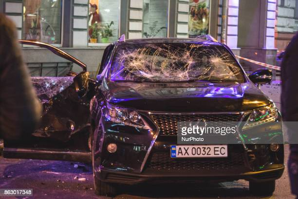 CONTENT*** A car that hit a pedestrian during a violent car accident in Kharkov Ukraine on 18 October 2017 night Five people died on the spot