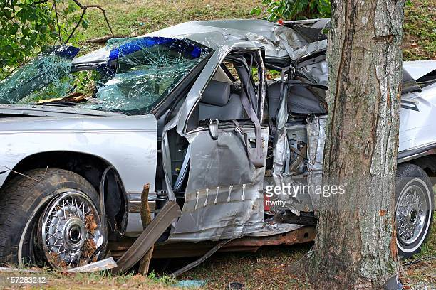 A car that sustained a lot of damage in an accident