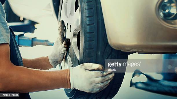 Car tire replacement.
