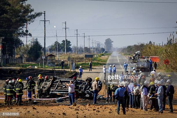 Car to the roadside, totally burned and destroyed by the explosion of a gas pipeline from the Central Thermoelectric the town of Pilar, province of...
