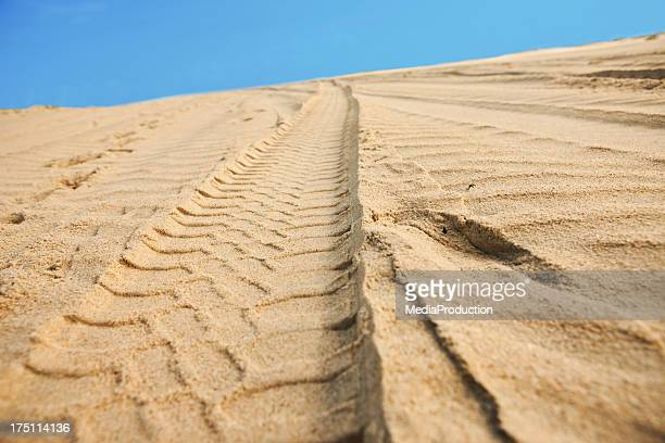 Car tracks on sand