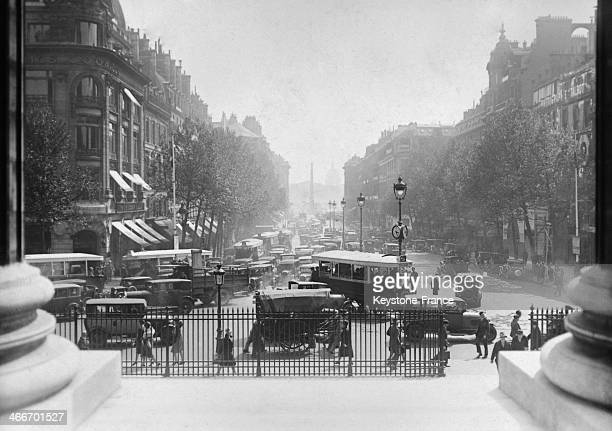 Car traffic in the Rue Royale in May 1929 in Paris France