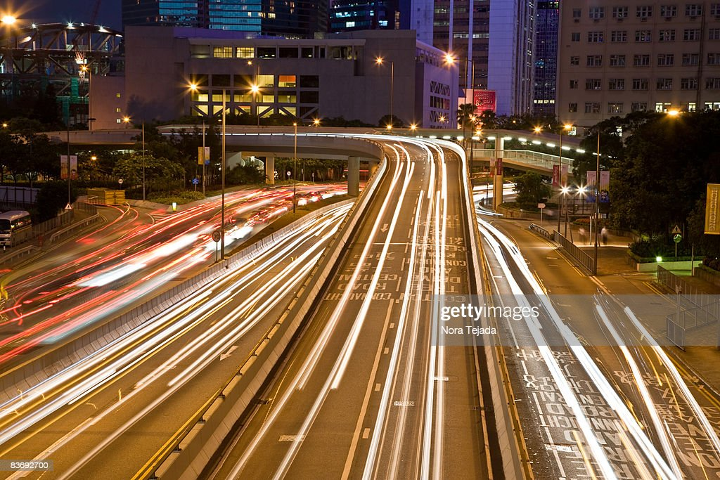 Car trails at night, Hong Kong, China SAR : Stock Photo