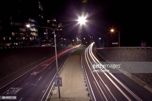 Car trails at night