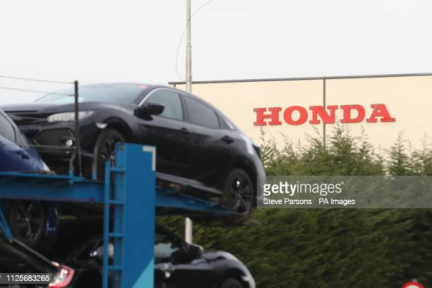 A car transporter at the Honda plant in Swindon which the company is planning to close with the loss of more than 3000 jobs