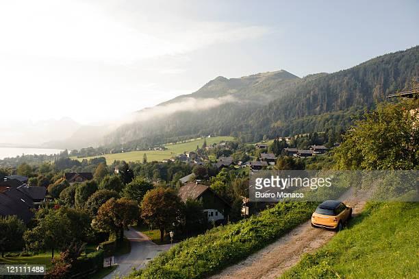 car trip, mountainious landscape, lake wolfgang - salzburg stock pictures, royalty-free photos & images