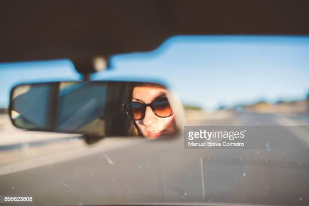 car trip - vehicle mirror stock-fotos und bilder