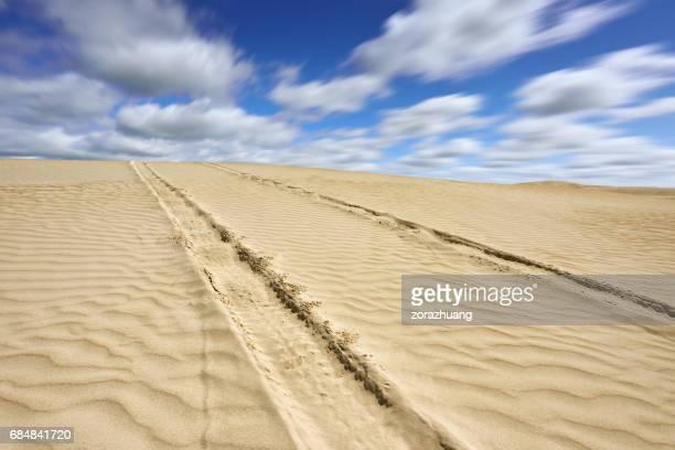 Auto-Reifen-Spur in der Wüste