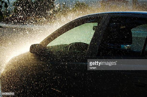 car under heavy rain - torrential rain stock pictures, royalty-free photos & images