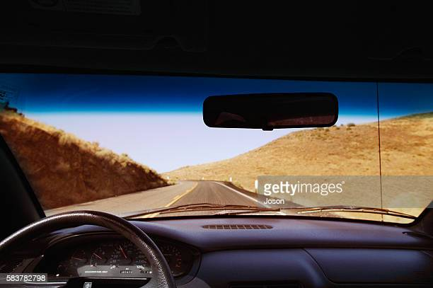 Car (on Route 66a), view from driver, Nevada, USA