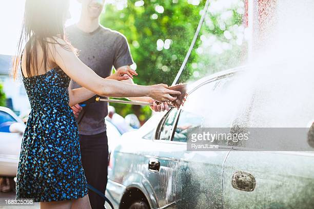 car wash couple - couples showering stock pictures, royalty-free photos & images