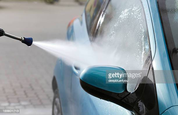 car wash with high pressur cleaner - power in nature stock pictures, royalty-free photos & images