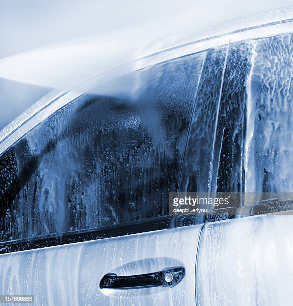 car wash with high pressure claener - parking valet stock photos and pictures