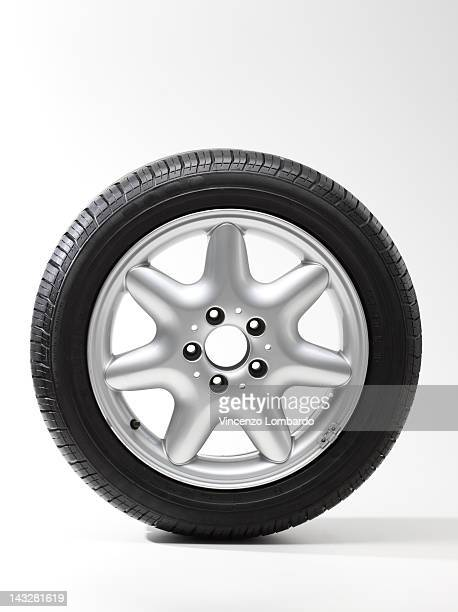 Car wheel, white background
