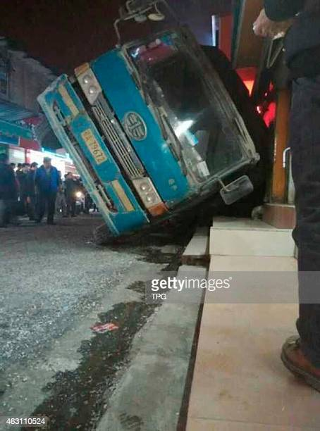 A car which loading hot asphalt concrete rollovered and burried one child to death on 09th February 2015 in Nanning Guangxi China