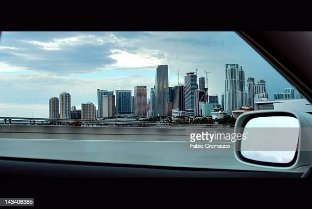 Car window through Miami Florida downtown