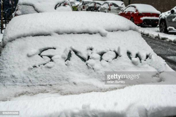 Car windshield with snow