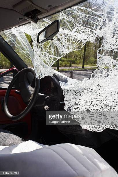 A car with a shattered windshield