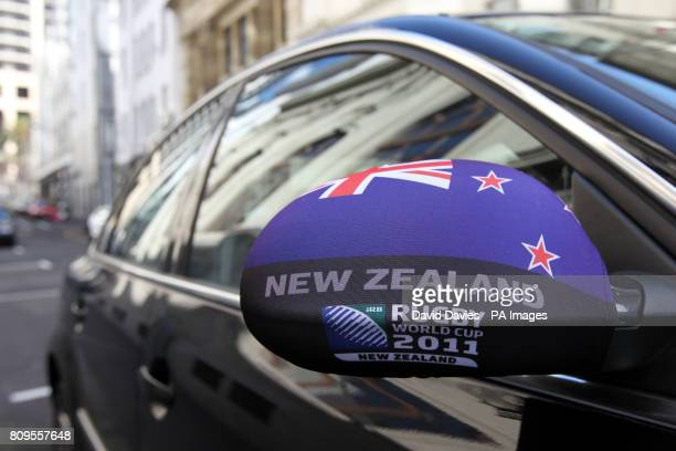 A car with a wing mirror cover showing their support for the New Zealand 2011 World Cup