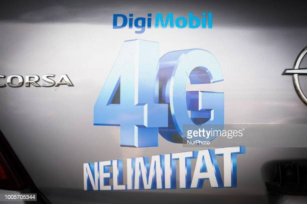 A car with an advertisement for unlimited 4G mobile data is seen in Bucharest Romania on July 25 2018