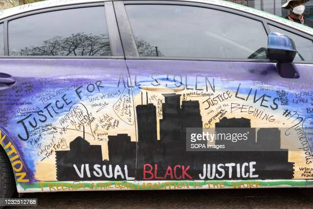 Car with Black Lives Matter slogans on it seen during the demonstration. Black Lives Matter activists gathered in front of the Ohio Statehouse to...
