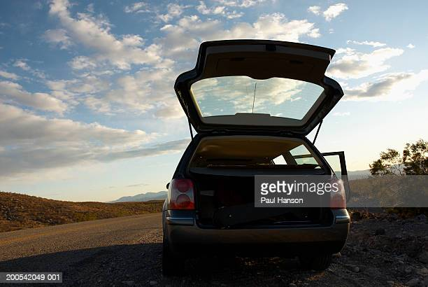 Car with open hatch on side of road in desert, rear view