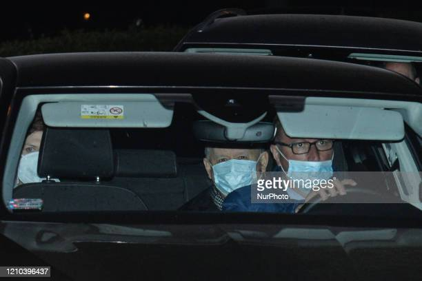 A car with the leader of the Law and Justice party Jaroslaw Kaczynski and a former Polish PM Beata Szydlo MEP leaves Wawel Castle after they attended...