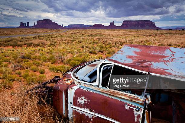 Car wreck in Monument Valley